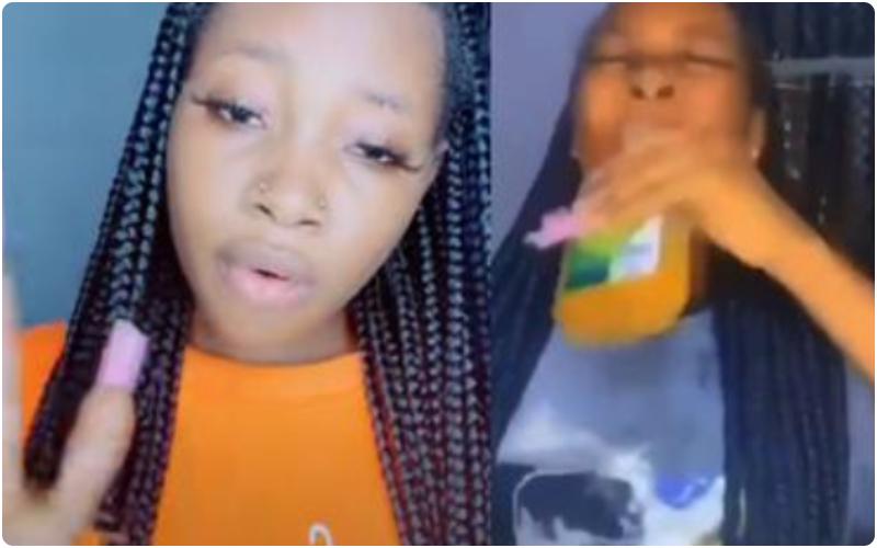 lady drink detol joeboy alcohol challenge