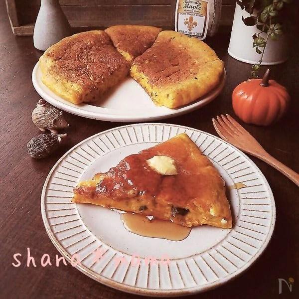 かぼちゃ濃厚♪ふっかりもっちりかぼちゃパンケーキ♪