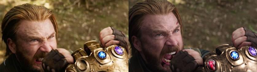 Duas versões da cena em que Capitão América enfrenta Thanos em Vingadores: Guerra Infinita