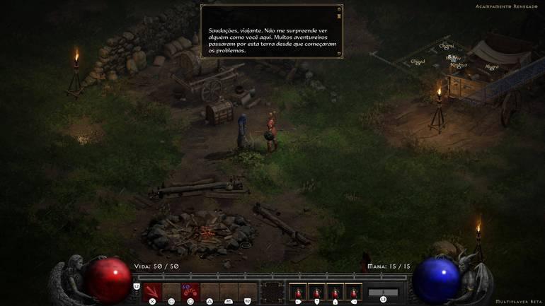 Conversation in Diablo II: Resurrected.