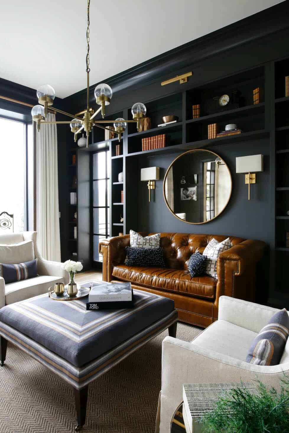28 Gorgeous Living Rooms With Black Walls That Create Cozy Drama