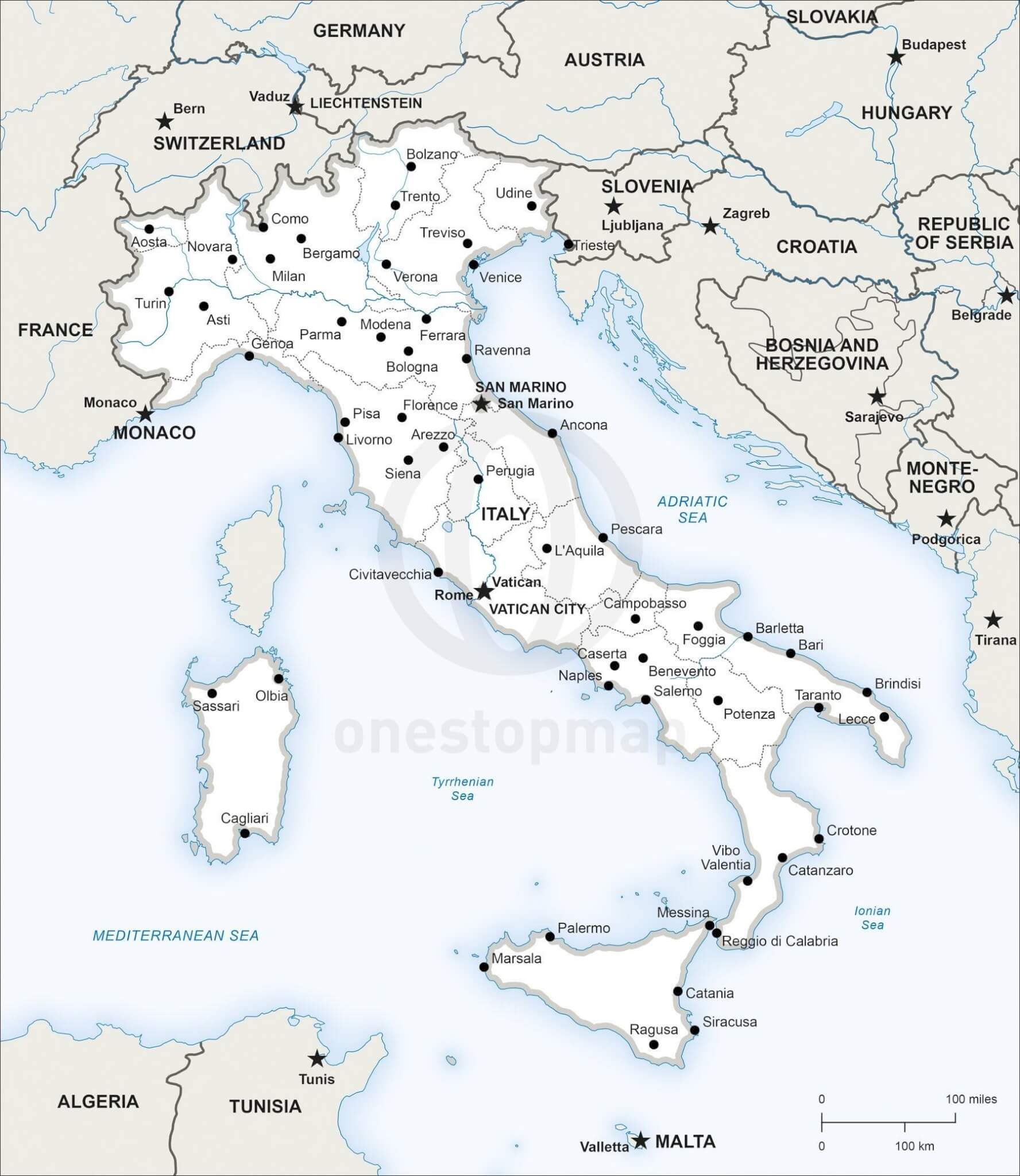 Vector Map Of Italy Political