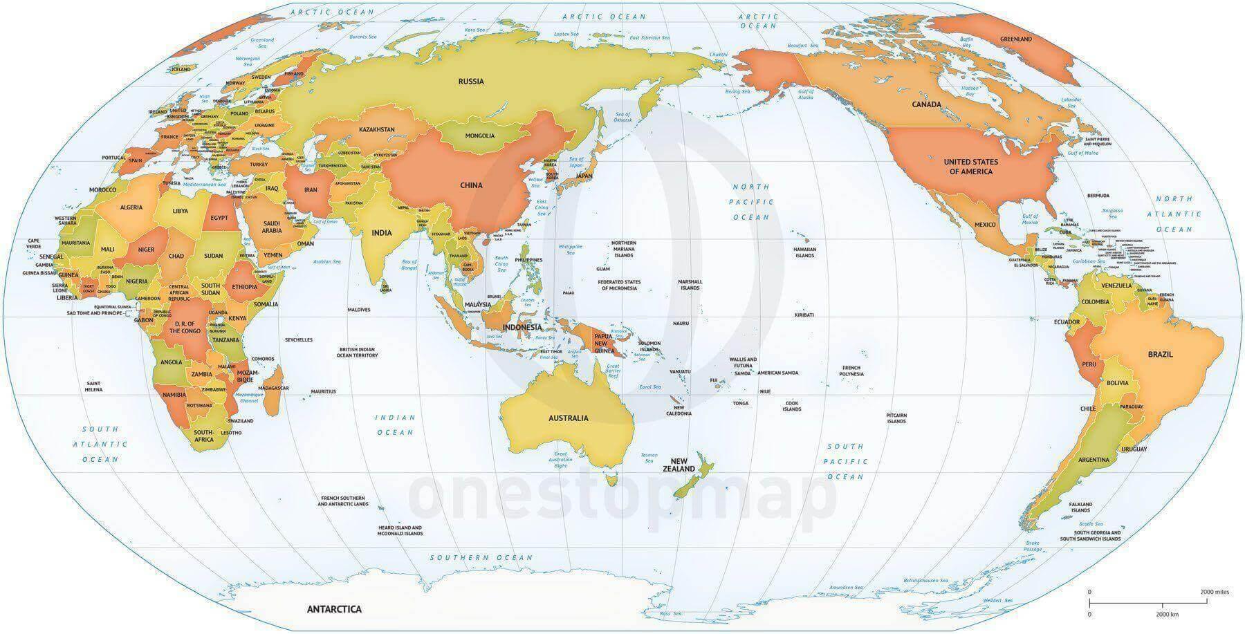 Vector Map World Robinson Asia Australia
