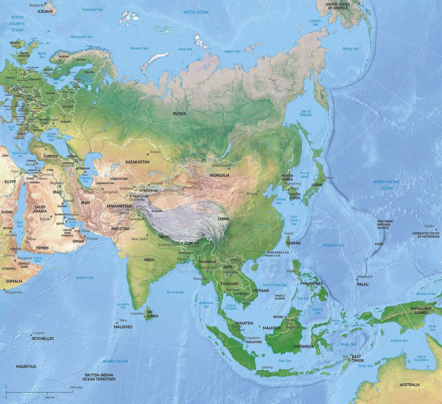 Vector Map Asia Continent Shaded Relief