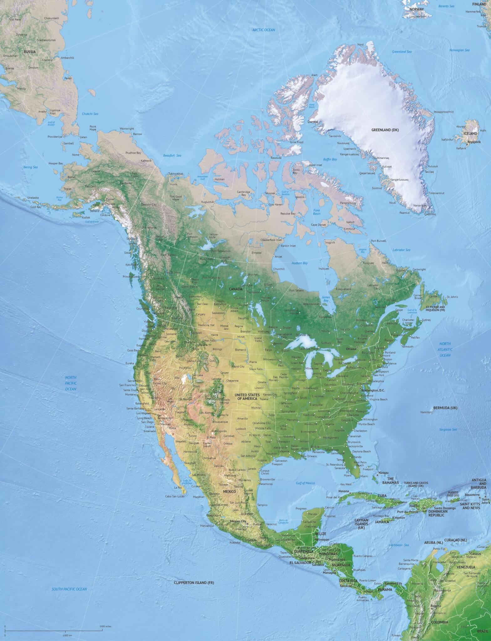 Vector Map North America Continent Xl Relief
