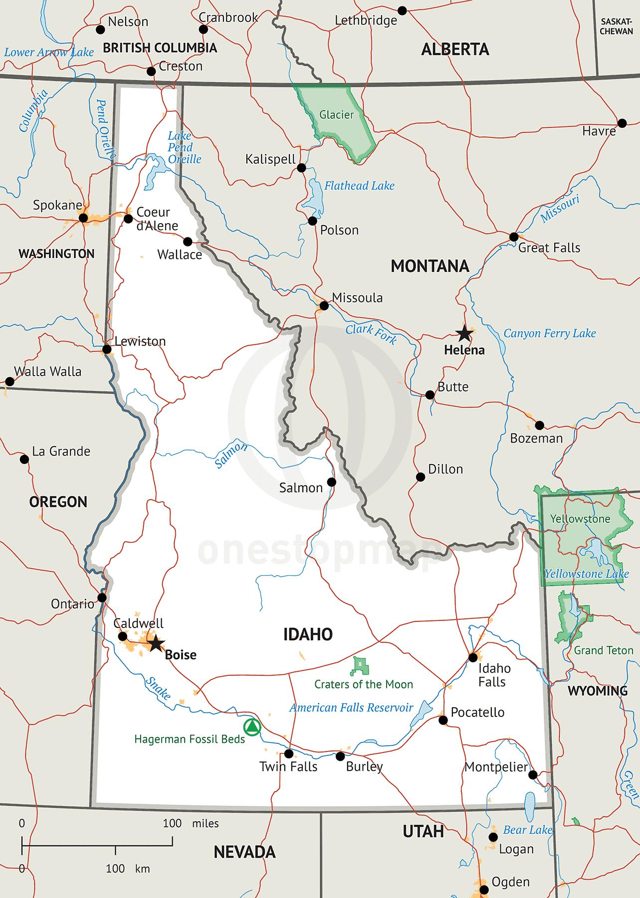 Stock Vector Map Of Idaho