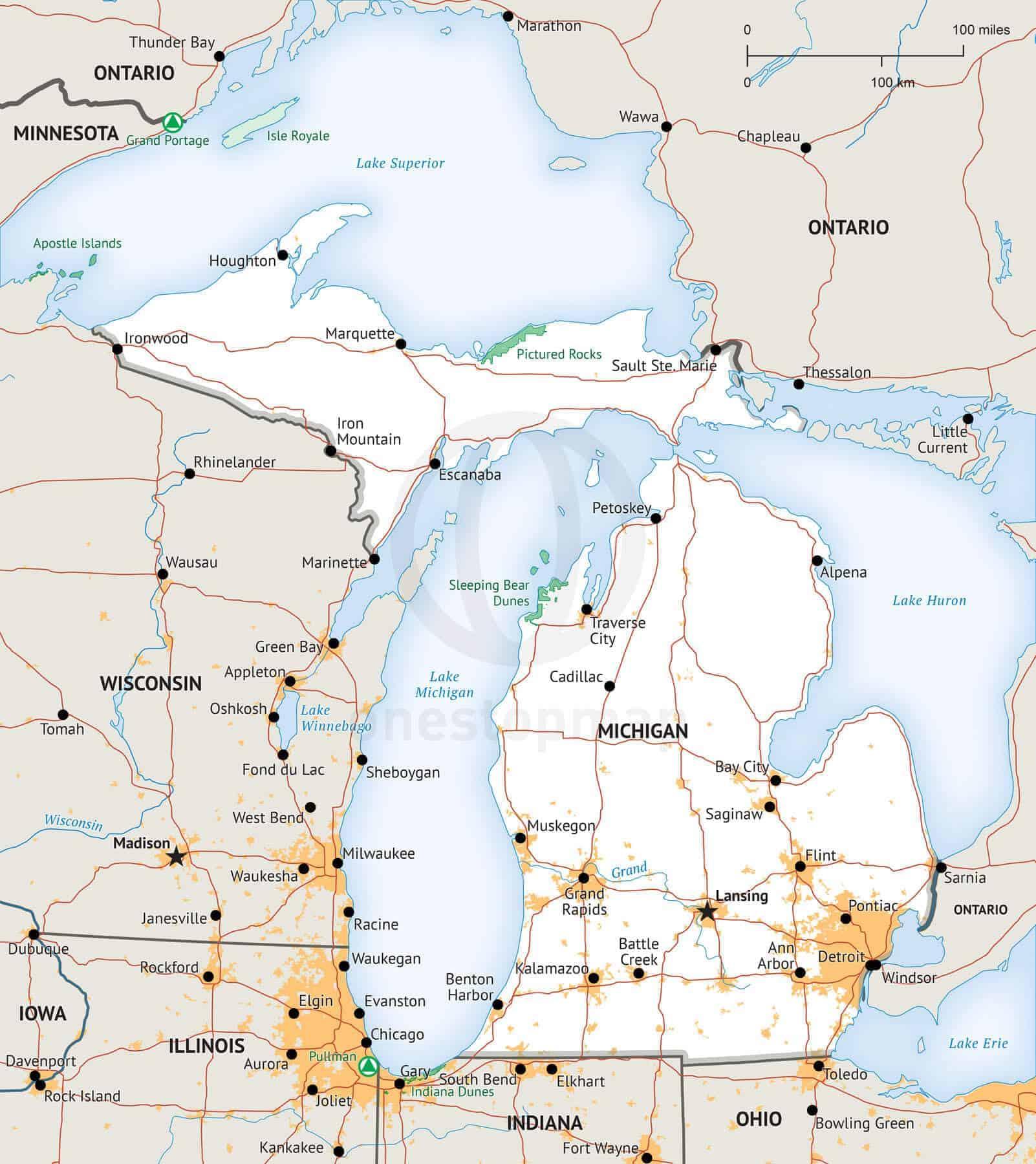 Free Printable Michigan Map