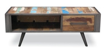 shipwreck retro style coffee table with single drawer