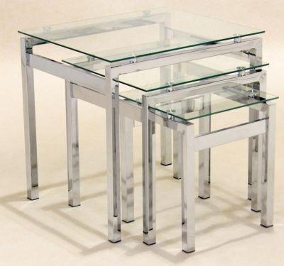 atlantic nest of three glass coffee tables
