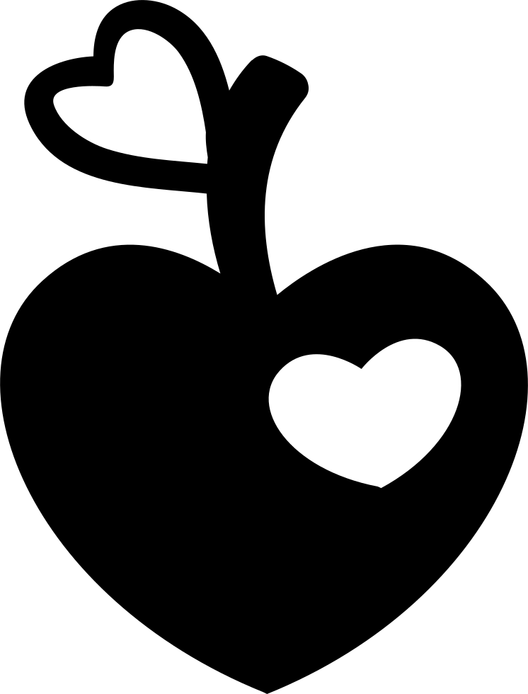 Download Heart Shaped Apple With Heart Bite And Heart Leaf Shape ...