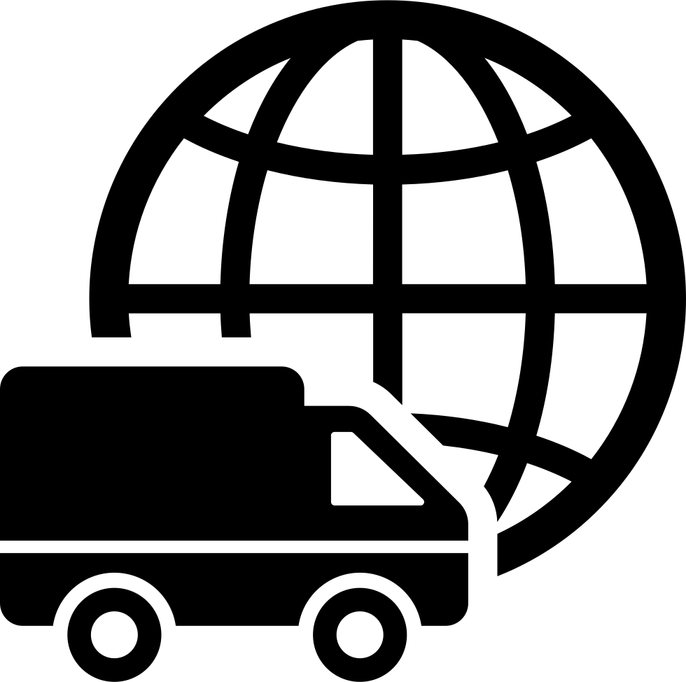 International Logistics Delivery Truck Symbol With World Grid Behind Svg Png Icon Free Download
