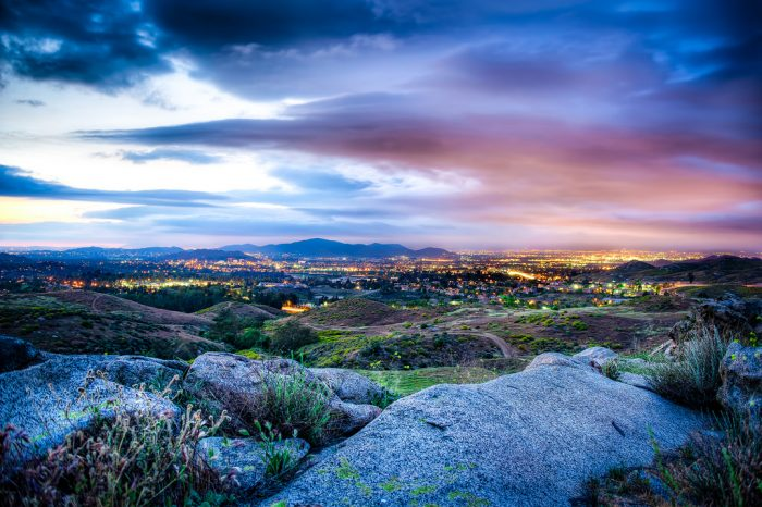 5. The brilliant color of a SoCal sky at dusk. Such a beautiful mix of colors at Sycamore Canyon in the Inland Empire.