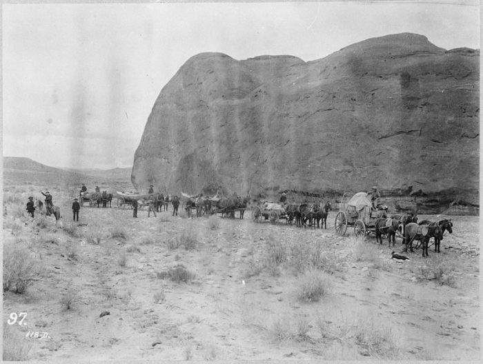 2. An overland caravan laden with boats, (circa 1889-90)
