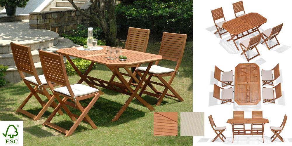 salon de jardin bois primero 1 table 4 chaises 4 coussins