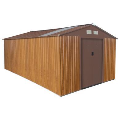 abri de jardin en metal 15 16 m coloris bois kit d ancrage offert