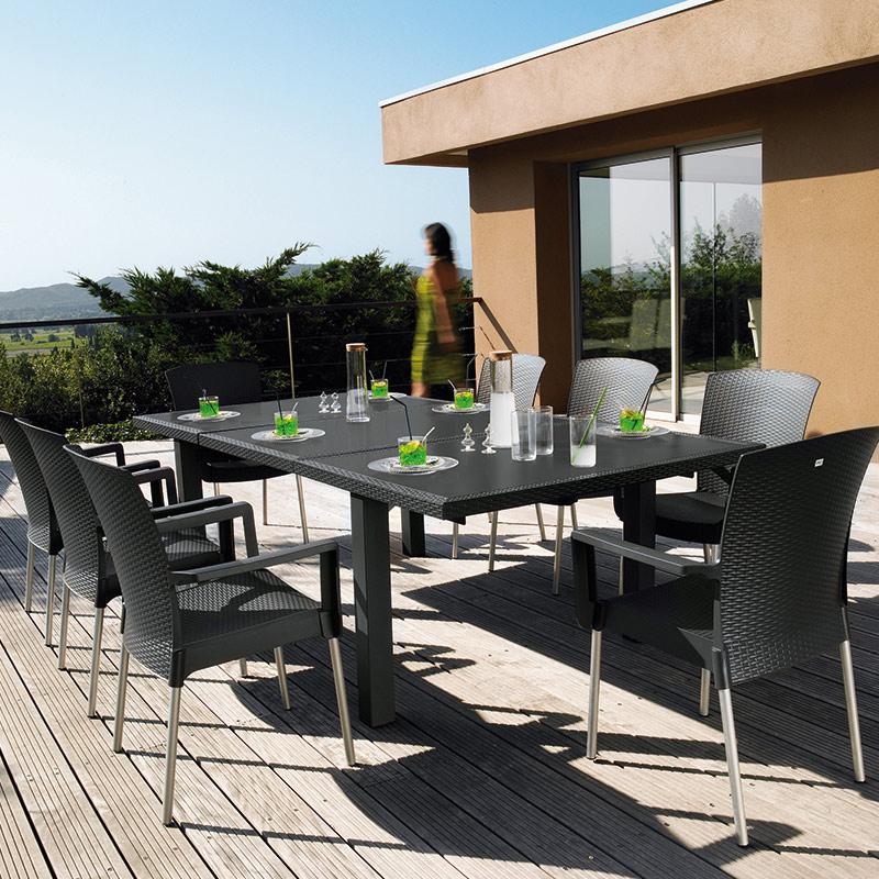 salon de jardin ineo 1 table 1m60 2m40 8 fauteuils