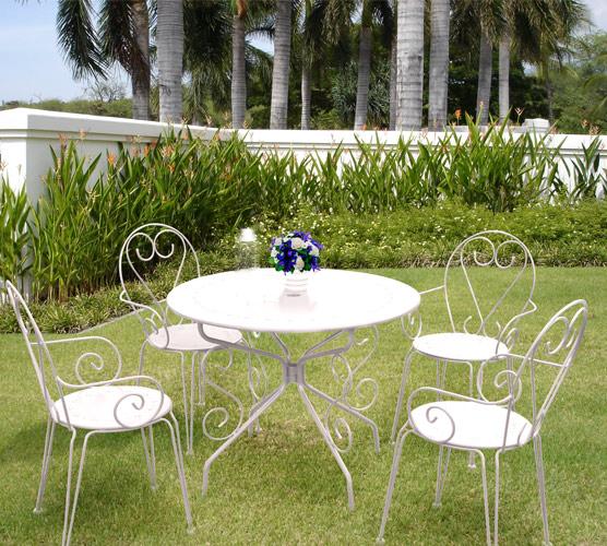 salon de jardin metal blanc romance 1 table ronde 4 fauteuils