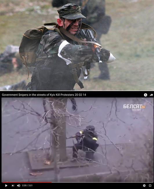 Дмитрий Садовник научениях иДмитрий Садовник стреляет наМайдане (сверху вниз). Источник: e-news.su, кадр извидео
