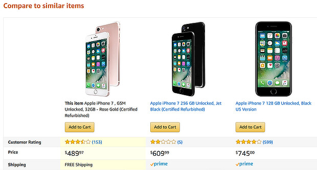 ecommerce upsell tips phone comparison