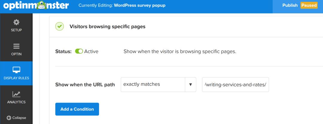 om visitors browsing URL added