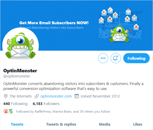 optinmonster twitter profile