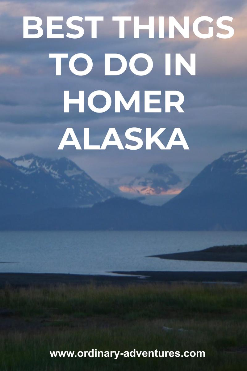 Distant mountains with lingering snow across the water on a mostly cloudy day at sunset. There is some grassy and sandy land at the edge of the water in the foreground. Text reads: Best things to do in Homer Alaska