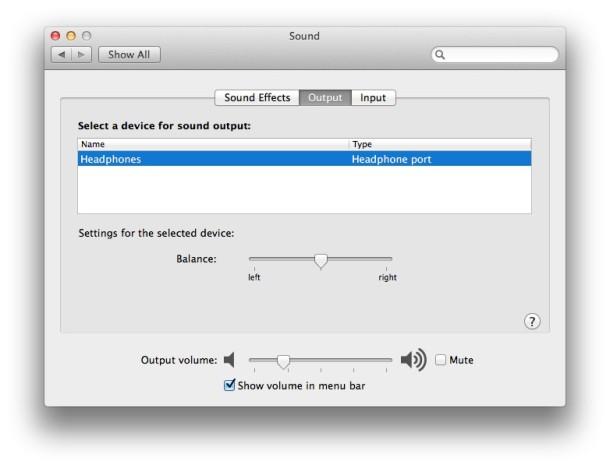 Уровень громкости наушников на Mac