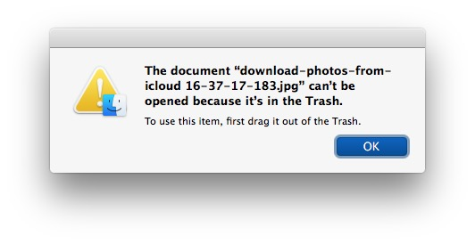 Невозможно использовать файл в корзине