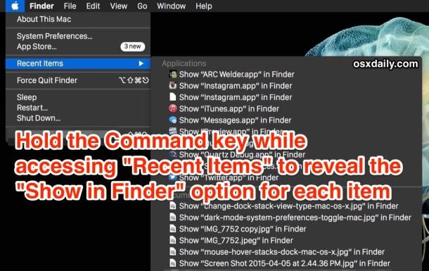 Удерживайте клавишу Command при выборе пункта меню недавних элементов, чтобы перейти к нему в Finder Mac OS X