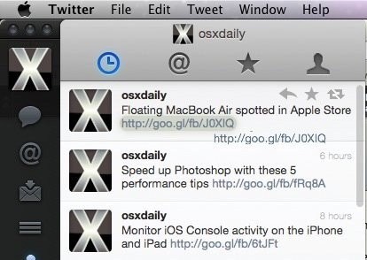 щелкните-перетащите URL-адреса Twitter-Mac