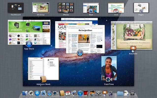 Снимок экрана Mac OS X Lion Mission Control