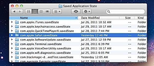 Отключить сохраненное состояние определенного приложения и возобновить работу в OS X Lion