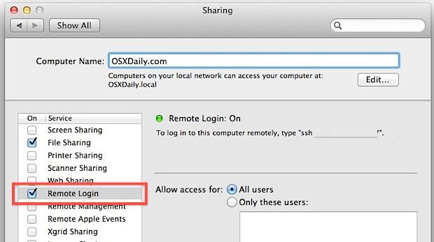 Включение и использование SSH и SFTP-сервера в Mac OS X