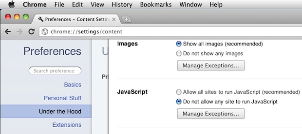 Отключить Javascript