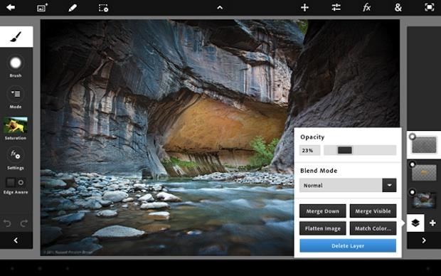 Снимок экрана Photoshop Touch для iPad