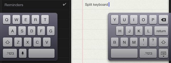 Разделить клавиатуру на iPad