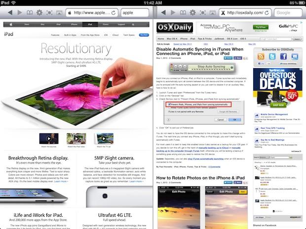 Двойные окна браузера на iPad