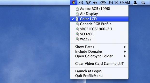 Переключатель меню цветового профиля для Mac OS X