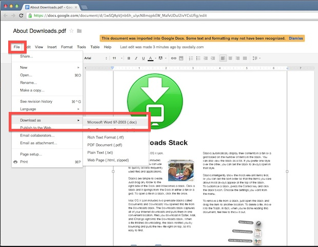 Convert a PDF to DOC for free using Google Docs