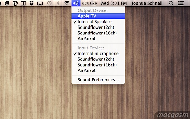 Потоковая передача звука с Mac на AirPlay с OS X Mountain Lion