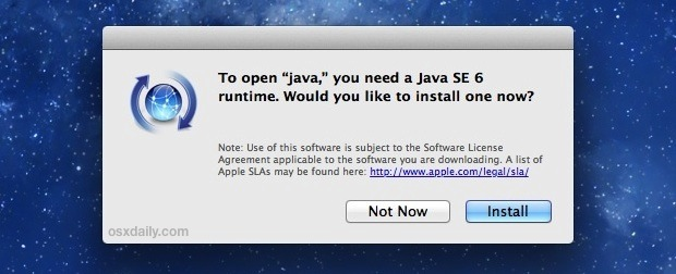 Install Java in OS X Mountain Lion