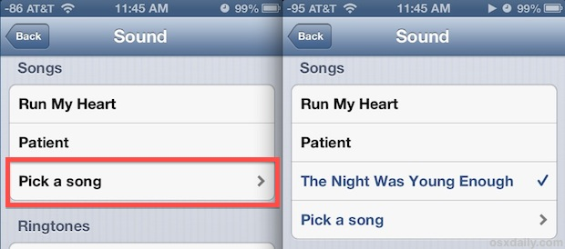 Song as alarm sound on iPhone
