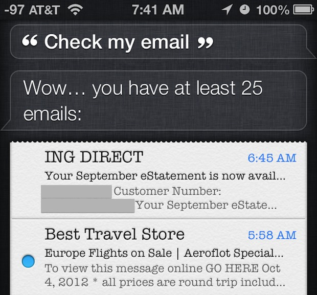 Check email with Siri