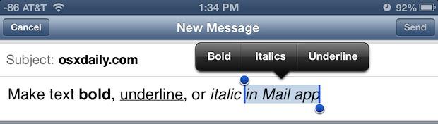 Стиль текста в почте iOS