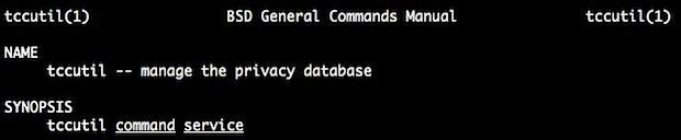 tccutil управляет базой данных конфиденциальности OS X и доступом к приложениям