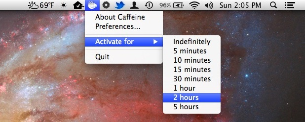 Caffeine menu bar