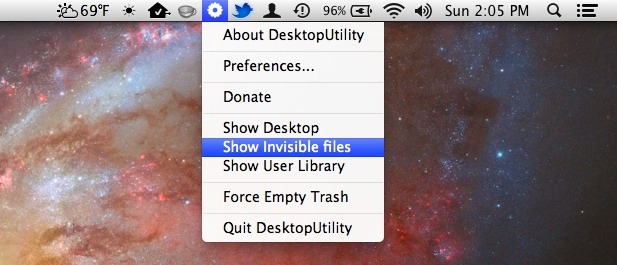 Desktop Utility menu bar item