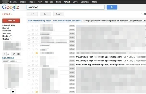 Просмотр непрочитанных писем только в Gmail