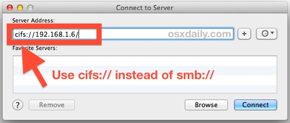 Подключение к общим ресурсам SMB NAS в OS X Mavericks