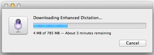 Для включения расширенной диктовки необходимо загрузить некоторые файлы на Mac.